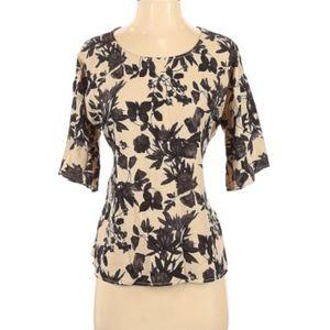 West Kei tan with black floral tie blouse Sz L